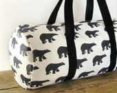 Travel bag · Gym bag · Carryall bag - Weekend bag · 100% cotton - Bears pattern · Overnight bag ·