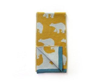 Scarf for kids Alaska · 100% Merino Wool · Mustard yellow and light blue · Polar bears · Gift for kids