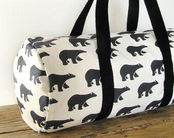 Travel bag · Gym bag · Carryall bag - Weekend bag · 100% cotton - Bears pattern · Overnight bag ·