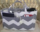 Purse Insert, Bucket Style, Bag Organizer Insert, 18 Pockets, Handles, Key Clasp, Grey Chevron Print, Handbag, Tote, Diaper Bag,Travel Bag