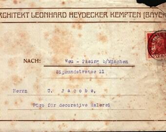 Pair Envelopes German Stamps Bayern 15 and Postmarks Architekt Leonhard Heydecker Kempten (Bay.)