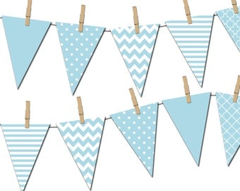 Light Blue Banner, Printable Pennant Banner, Birthday Party, It's a Boy Baby Shower Banner - Instant Download - DP371