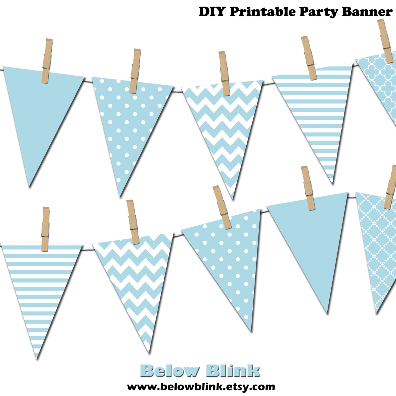 Light Blue Banner Printable Pennant Banner Birthday Party