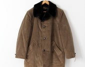 vintage Sears men's corduroy overcoat with shawl collar, new old stock