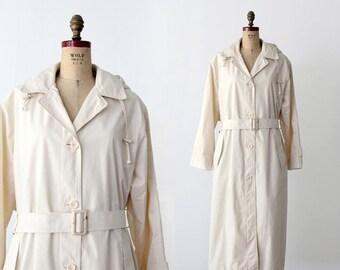 SALE vintage London Fog trench coat, cream raincoat
