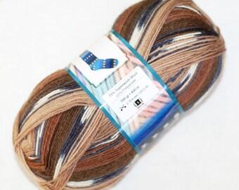 Self Striping Sock Yarn, Superwash Wool, Brown Beige, Black White, Sale, Discount, Fingering Weight, Ice Yarn