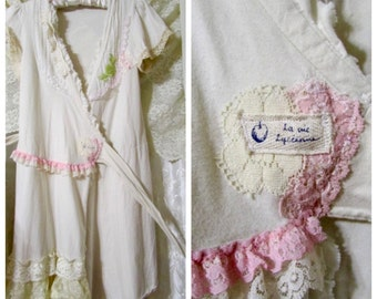Wraparound Cotton Dress, romantic shabby snippets of lace embellished, upcycled altered clothing, Junior Size, Extra Small