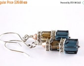 ON SALE Swarovski Crystal Cube Earrings, Sterling Silver, Montana Blue, Crystal Bronze