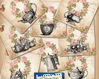 TAGS 112 Vintage Tea Tags printable tags, digital collage sheet shabby chic printable digital download hang tags