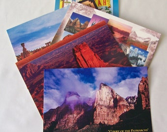 Vintage Utah Postcards Set of Five Unused Utah Vacation Souvenir Photo Post Cards 1990s Zion Bryce Canyon Canyonlands National Parks