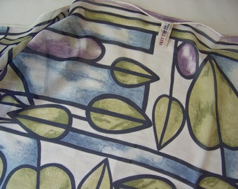 Vintage Silk Scarf Stained Glass Olive Green Blue Lavender Long Past Pieces 1980s