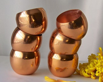 Vintage Copper Roly Poly Cups Decorative Copper Kitchenware Country Kitchen Decor ca. 1970