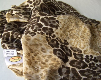 Vintage Silk Scarf Talbots Animal Print Shades of Brown And Tan Long Scarf 1980s