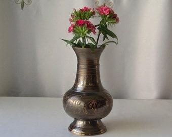 Vintage Brass Vase Artisan Crafting Black Anodized Brass Chased Flower Vase Vintage 1980s