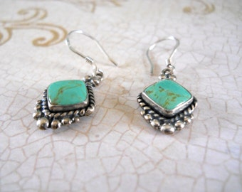 Turquoise & Sterling Silver Earrings — December Birthstone