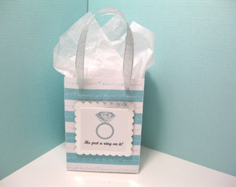 10 Bridal Shower Favor Bags - Engagement Party Favor Bags - Diamond Ring - Small Shopping Bags - Gift Bags
