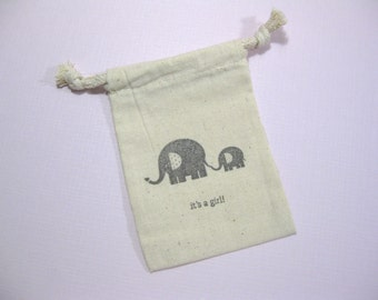 set of 10  baby shower muslin favor bags 3.5 inch by 5 inch - its's a girl favor bags - baby elephant - gift bags