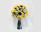 Sunflower Bouquet, Toss Bouquet, Small Bridal Bouquet,  MADE TO ORDER, Sunflower Nosegay, Sunflower and Baby's Breath, Twine Wrapped Bouquet