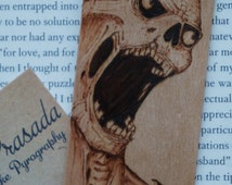 Pyrography Wooden Bookmark, macabre bookmark, horror bookmark, horror lovers gift, walking dead gift, zombie bookmark, grim reaper gift