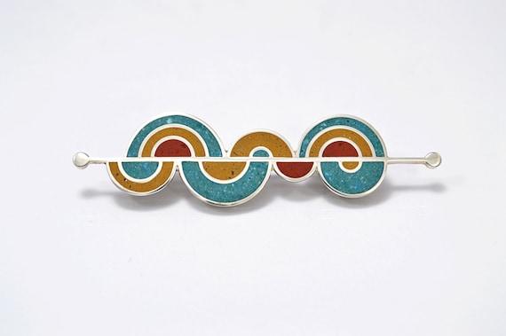 """Sterling Silver Brooch, Modern, Contemporary, Colorful, OOAK, """"El Espinazo del Diablo Brooch"""""""