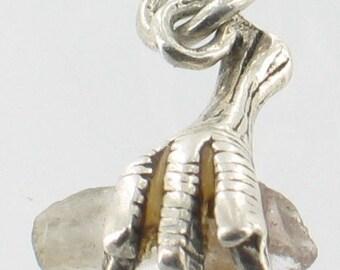 Antique Sterling Hawk Eagle Talon Claw Holding Quartz Crystal Tiny Charm