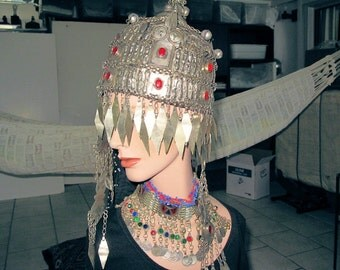 Ceremonial Hat, Headdress, Metalwork Tassels, Pigtail, with Ornate Choker Necklace
