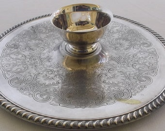 Vintage Silverplate Serving Platter and Revere Dip Bowl