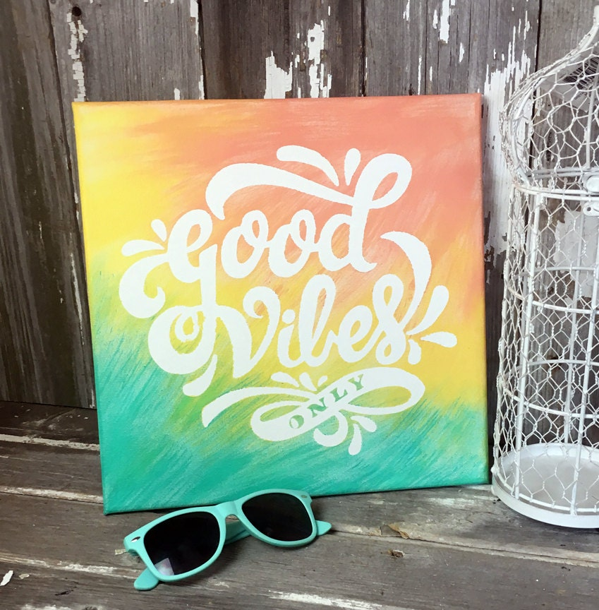 Hand Painted 12x12 Canvas Wall Art Good Vibes by ...