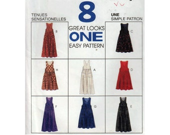 "Bust 40-44"" 90s Jumper Sewing Pattern Women's Dress Loose Fitting Empire Waist Easy UNCUT McCall's 7903 S"