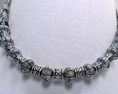 Assorted dark silver beads necklace