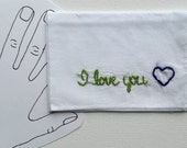 I Love You Handkerchief Love Embroidery Love Accessory Cotton Gift Embroidered Handkerchief