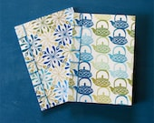Set of 2 Notebooks, green and blue hues, japanese binding, A6, hand stamped cover, hand stitched, 40 pages = 20 white sheets
