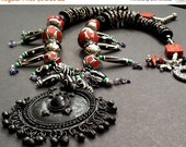 20% WINTER SALE Custom Designed Necklace By Liz Wolter / Exotic Asian/Tribal/African/Bo  Ho Style / Trend Statement