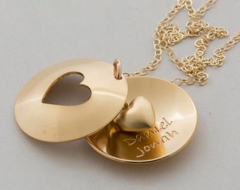 GOLD romantic Gift for HER, Heart cutout necklace, custom engraved 24ct/sterling silver Jewelry, LOVE gift, Wedding, Anniversary