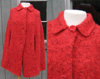 Soft Red Vintage Wool Poncho with Adorable Collar