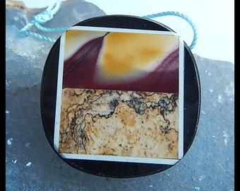 Gemstone Mookite,Picture Jasper,Black Stone Intarsia Pendant,Necklace,35x7mm,15.8g