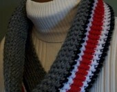 Ohio State Scarf Infinity Cowl Buckeyes Gray Red Black White Handmade