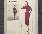 50s Vogue Paris Original Dress Pattern 1158 - Schiaparelli - Bust 36 - Hip 39