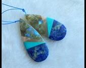 New,Labradorite,Sun Stone,Turquoise,African Sodalite Intarsia Gemstone Earring Bead,51x21x4mm,12.0g