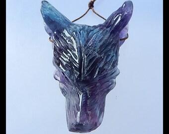 AAA Carved Fluorite Wolf Head Gemstone Pendant Bead,46x32x15mm,24.7g