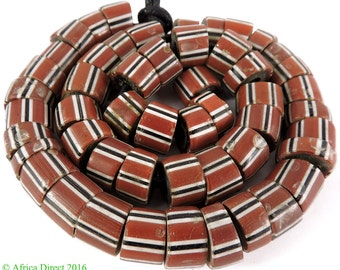 Striped Greenhearts Venetian Trade Beads Africa 103650