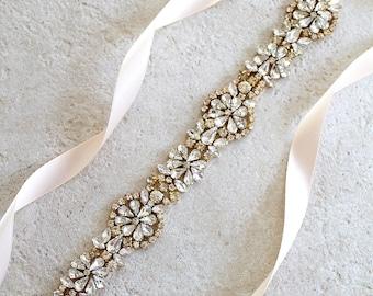 Gold Crystal Bridal Sash.  Gold Rhinestone Wedding Sash. Beaded Medallion Bride Sash.  SERENITY