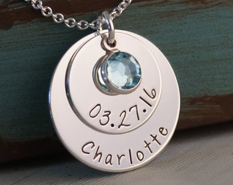 My Baby Info 2nd Edition / Personalized Hand Stamped Mommy Necklace / Sterling Silver Jewelry