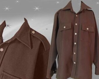 Men's 70s Knit CPO Shirt - Vintage Brown Button Down Shirt  - L