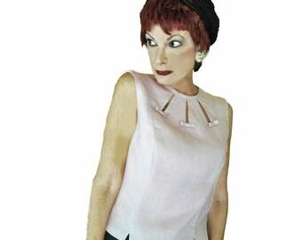 Vintage 1950s Pink Sleeveless Top - Spring & Summer Linen 50s Blouse - Susan Thomas