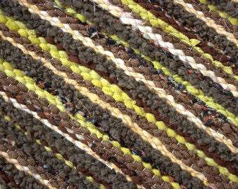 Hand woven rag rug 1.6 feet by 40.2 feet(49cm x 102cm) Colors - Dark olive, khaki, light green ready for sale