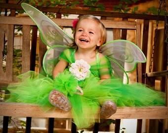 Girls Tinkerbell Inspired Tutu Dress Halloween Costume (Newborn - 5T)