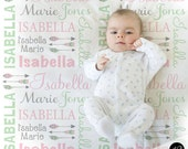 Feather Arrow Name Blanket in pink mint and gray for Baby Girl, personalized baby gift, baby blanket, personalized blanket, choose colors