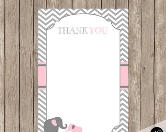 Pink Elephant Thank You Note Card 4x6  INSTANT Download pe1