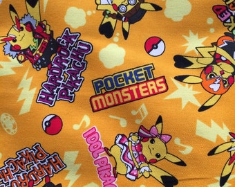 SALE Pocket Monsters cosplay pokemon printed fabric half yard Orange colour